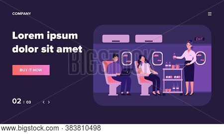 Passengers In Air Trip Waiting For Beverage Flat Vector Illustration. Business Class Travelers Sitti