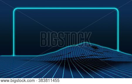 Projection Of Light Strips Onto Mountain Topography With Neon Frame. 3d Rendering