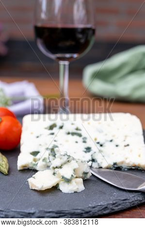 French Cheeses Collection, Piece Of Roquefort, Sheep Milk Soft Blue Cheese From Southern France.