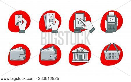 Online Payment, Shopping, Money, Banking - Icons With Hand Holding Credit Card, Cash, Phone, Banking