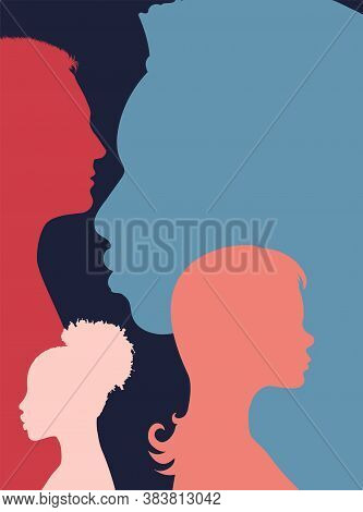 Diversity Multi-ethnic And Multiracial People Poster. Silhouette Profile Group Of Men And Women Of D