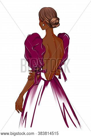 Hand Drawn Illustration Of A Girl In A Dress. Girl In Evening Dress Drawings. The Girl Stands With H