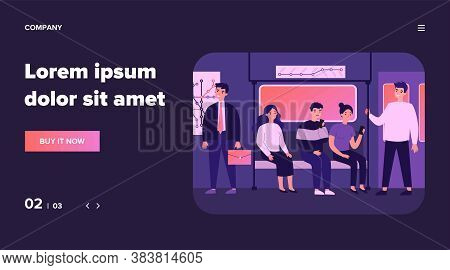 Passengers Travelling By Underground Flat Vector Illustration. People Sitting In Metro Wagon And Usi