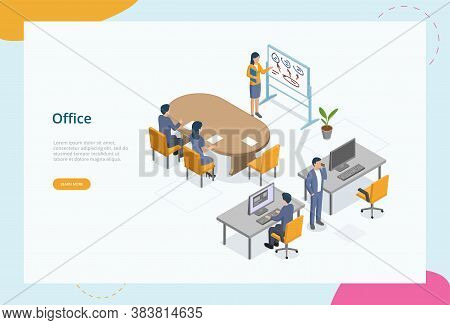 Working At Office, Coworking Space Concept. Male And Female Characters Meet At Office. Colleagues Wo