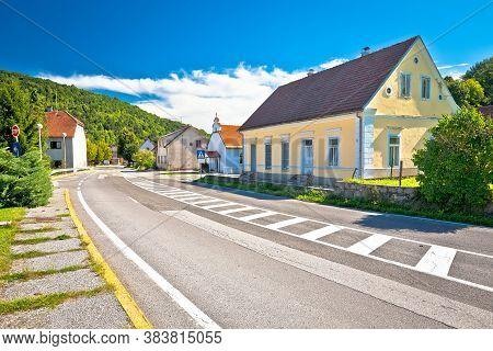 Mountain Village Of Severin Na Kupi Street View, Gorski Kotar Region Of Croatia