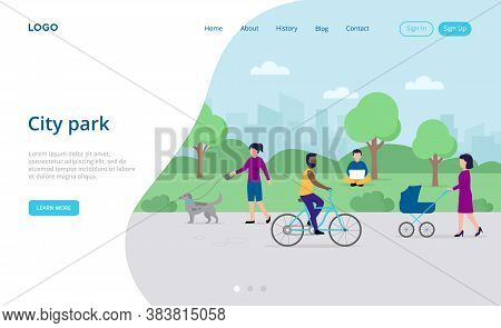 Relaxation, Town And City Park Nature Concept. Male And Female Characters Walking, Riding Bicycle At