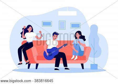 Teen Music Band Rehearsing Song At Home. Girl And Guy Playing Guitar, Maraca Flat Vector Illustratio