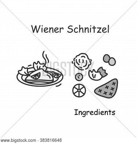 Wiener Schnitzel Icon. Austrian Cuisine Meat Cutlet Plate Serving Linear Pictogram. Concept Of Tradi
