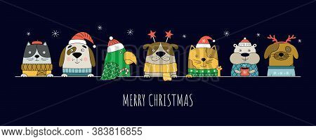 Merry Christmas Illustration With Cats, Dogs, Parrot And Hamster. Christmas Banner For Pet Shop Web