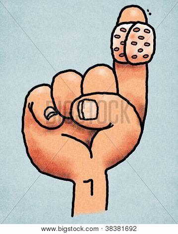 Bandaged finger