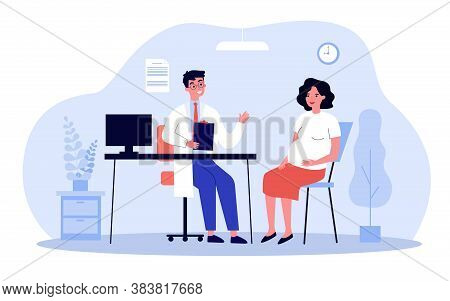 Pregnant Woman Consulting Doctor In His Office. Gynecologist Talking To Expecting Patient. Vector Il