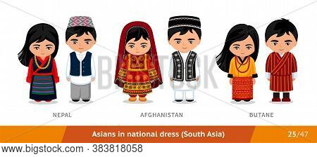 Nepal, Afghanistan, Butane. Men And Women In National Dress. Set Of Asian People Wearing Ethnic Clot