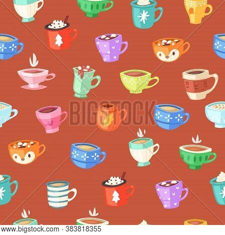 Cups Seamless Pattern, Drink Coffee Wallpaper Concept, Retro Illustration, Vintage Design, Cartoon S