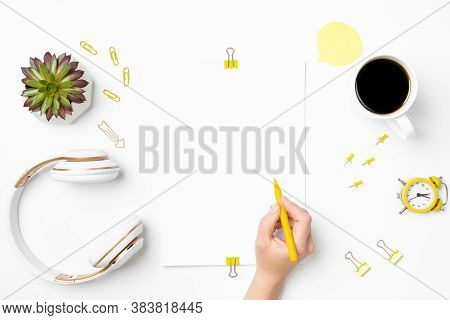 Creative Workspace Mockup. White Desk With Blank Paper And Young Woman Designer Hand Drawing. Wirele