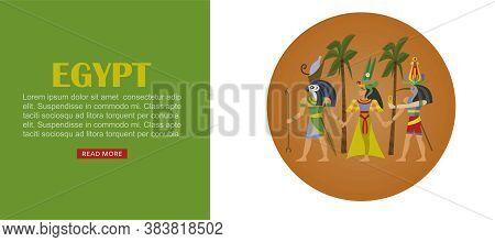 Egypt Travel Banner, Architecture Design Culture, Ancient Egyptian Landmark, Famous History, Cartoon