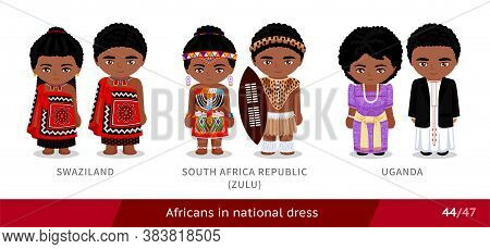 Swaziland, South Africa Republic, Zulu Tribe, Uganda. Men And Women In National Dress. Set Of Africa