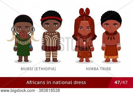 Mursi, Ethiopia, Himba Tribe. Men And Women In National Dress. Set Of African People Wearing Ethnic