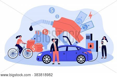 Drivers Spending Too Much Money For Gasoline. Price Of Car Fuel Going Up, People Riding Bike. Vector