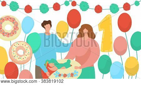 Happy Birthday One 1 Year Vector Illustration. Cartoon Flat Family Couple And Baby Characters Celebr