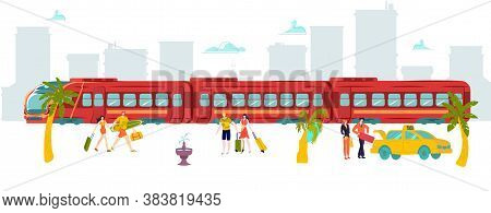 Vacation Travel Around World Train, Hot Tour Tourist, Peregrinate World, Baggage , Design, Cartoon S