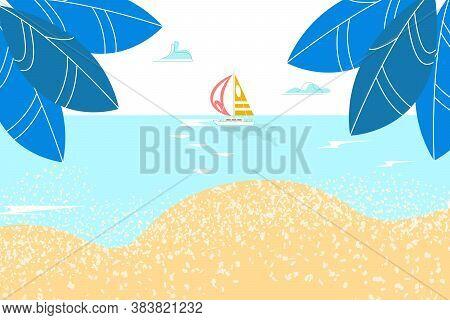 Summer Rest, Sea Landskape, Paradise Sandy Shore, Sunny Tropical Sky, Quiet Bay, Ocean Vacation, Car