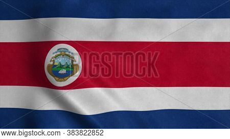Costa Rica Flag Waving In The Wind. National Flag Costa Rica. 3d Illustration