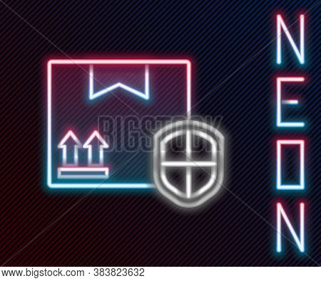 Glowing Neon Line Delivery Pack Security With Shield Icon Isolated On Black Background. Delivery Ins