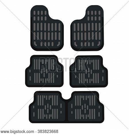 Set Of Rubber Car Mats. Vector Illustration In Flat Style