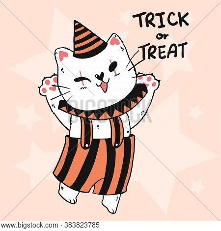 Cute Halloween Doodle Outline Cat In Joker Costume, Trick Or Treat, Idea For Greeting Card, Printabl