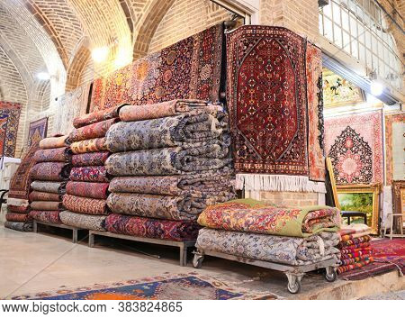 Traditional iranian carpets shop in old Vakil Bazaar, located in the historical center of the Shiraz, Iran