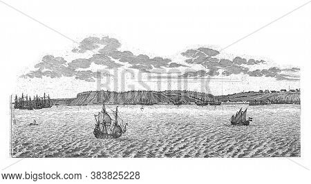 View of Luanda (Sao Paulo de Luanda) in Angola (left half), c. 1641. Left plate of a large representation printed on two plates, vintage engraving.