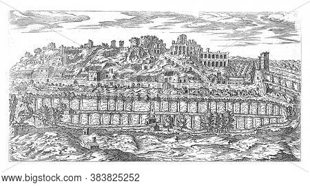 Palatine and the Circus Maximus in Rome, Etienne Duperac, 1575 View of the ruins on the Palatine in Rome. In the foreground the Circus Maximus that serves as a garden here, vintage engraving.