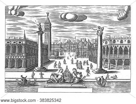 View of the Piazzetta with on the left the Biblioteca Marciana and the Campanile di San Marco and on the right the Doge's Palace and San Marco, vintage engraving.