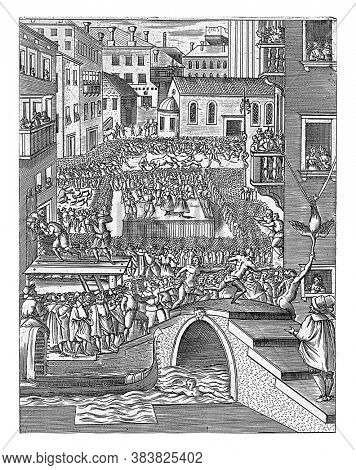 Street party with a bridge in the foreground and a man pulling a gondola in the water. Bulls and bears are fought on the street and games are played, including goose pulling, vintage engraving.