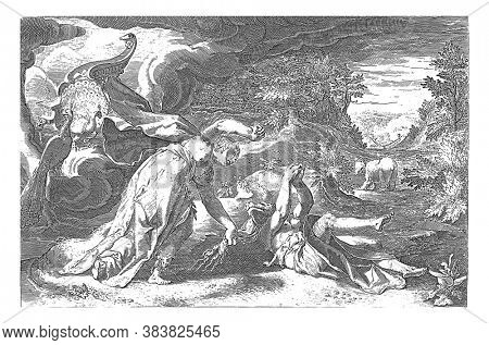 After Callisto gave birth to Jupiter's son Arcas, Juno turns her into a bear out of anger at her husband's adultery. Left behind Juno's peacock wagon, vintage engraving.
