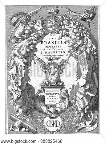 The coat of arms of Brazil border edging of putti, fruit and vegetables and weapons. At the top the coat of arms of Johan Maurits, Count of Nassau-Siegen, below his monogram, vintage engraving.