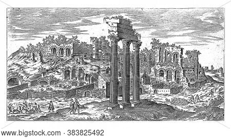 Palatine in Rome, Etienne Duperac, 1575 View of the ruins on the Palatine in Rome. In the foreground remains of a temple on the Roman Forum, vintage engraving.