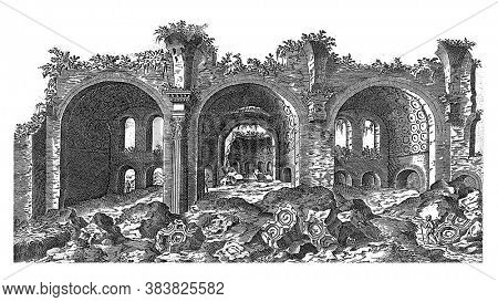 Remains of the Basilica of Maxentius in Rome, Etienne Duperac, 1575 View of the remains of the Basilica of Maxentius at the Roman Forum in Rome, vintage engraving.