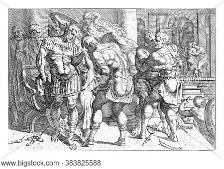 Reconciliation between Odysseus and the Ithacan rebels, Under the watchful eye of Minerva, Odysseus and the hostile Ithacans reconcile, vintage engraving.
