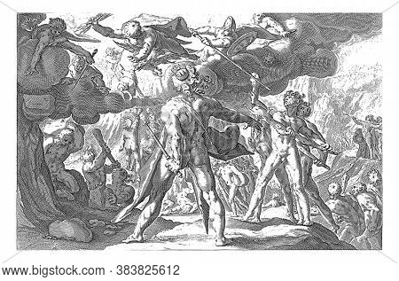 The Giants try to conquer the sky where the Olympic gods live from mountains and clubs, vintage engraving.