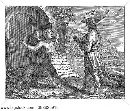 A sphinx stands in front of a door and shows a shepherd a sheet of paper with a French and Dutch text, Spell the name of lant off stadt uut hoofftletters what is that, vintage engraving.