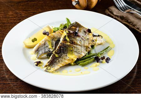 Delicious Oven Baked Fish Or Grilled Fillet Or Steak With Lemon For A Nutritious Seafood Dinner. Wal