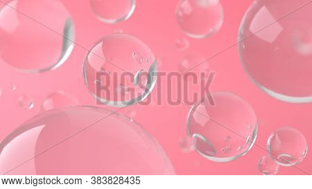Water Soap Bubbles On Pink Background. Depth Of Field. 3d Rendering