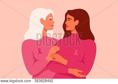Young Woman And Senior Woman With Pink Ribbons Stand Together. Breast Cancer Awareness Month Concept