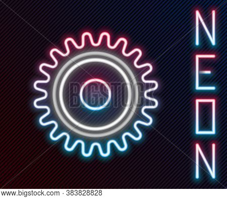 Glowing Neon Line Circular Saw Blade Icon Isolated On Black Background. Saw Wheel. Colorful Outline