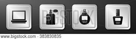 Set Makeup Powder With Mirror, Perfume, Perfume And Nail Polish Bottle Icon. Silver Square Button. V
