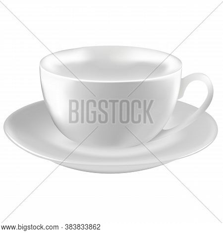 Empty Teacup On Saucer. Vector Realistic Image
