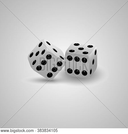 Vector Illustration Of White Realistic Game Dice .casino Dices Icon . Vector Illustration. 3D