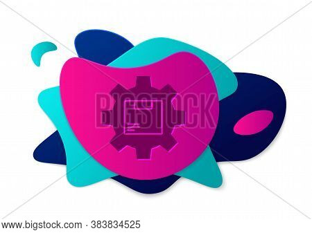 Color Gear Wheel With Package Box Icon Isolated On White Background. Box, Package, Parcel Sign. Deli