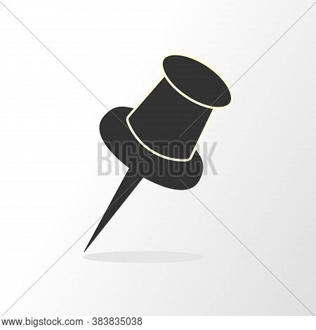 Gray Push Pin Isolated, Vector Illustration With Shadow